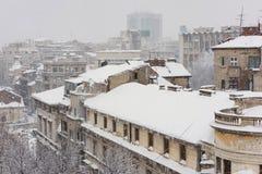 Het luchtpanorama van Boekarest stock fotografie