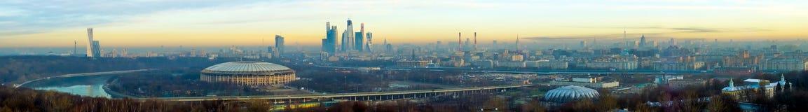 Het luchtpanorama van Moskou Stock Afbeeldingen
