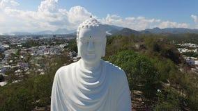 Het luchtstandbeeld van onderzoeks grote Boedha stock video