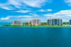 Het luchtstrand van Miami van de meningsstad, Zuidenstrand, Florida, de V.S. stock foto's
