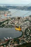Het Luchttramspoor van Bergen - Ulriken Stock Foto's