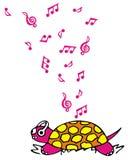Het luisteren van de schildpad muziek Stock Fotografie