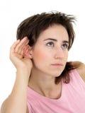 Het luisteren van de vrouw Stock Foto