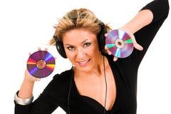 Het luisteren van de vrouw muziek Stock Foto's
