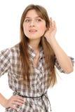 Het luisteren van de vrouw roddel Stock Foto