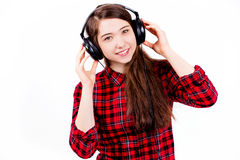 Het luisteren van het kind muziek Stock Afbeeldingen