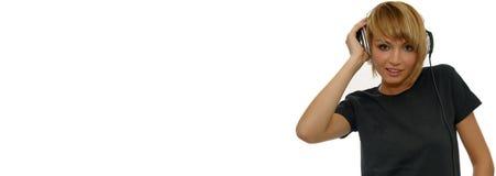 Het luisteren van het meisje de banner van het muziekWeb Stock Foto's