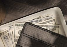 het lusje van het $100 rekeningenrestaurant royalty-vrije stock afbeeldingen