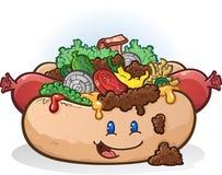 Het luxekarakter van het Hotdogbeeldverhaal Royalty-vrije Stock Foto's