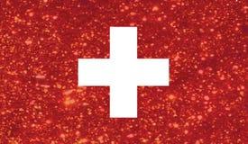 Het luxerood schittert Zwitsers de vlagpictogram van het land van Zwitserland stock illustratie