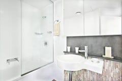 Het luxueuze binnenland van de wasruimte met faciliteiten Stock Afbeeldingen