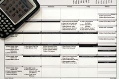 Het maandelijkse Programma van het Werk & PDA stock afbeelding