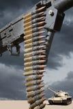 Het Machinegeweer en de Tank van de woestijn Royalty-vrije Stock Foto