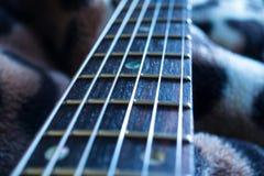Het macrobeeld van de gitaarhals Royalty-vrije Stock Afbeeldingen