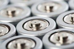 het macroschot van batterijenbovenkanten Stock Afbeeldingen
