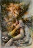 Het magische mooie water elven fee, monochromatische tekening stock illustratie
