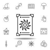 Het magische pictogram van het tarotoverzicht elementen van het magische pictogram van de illustratielijn de tekens, symbolen kun royalty-vrije illustratie