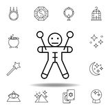 Het magische pictogram van het voodoooverzicht elementen van het magische pictogram van de illustratielijn de tekens, symbolen ku vector illustratie