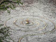 Het magische spiraalvormige altaar van de werkenwicca Heidense godsdienst stock foto