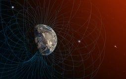 Het magnetische veld van de aarde Stock Foto