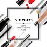 Het make-upmalplaatje met inzameling van maakt omhoog schoonheidsmiddelen en toebehoren vector illustratie