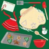 Het maken en het Bakken het Art. van de Klem van de Koekjes van Kerstmis Stock Afbeeldingen