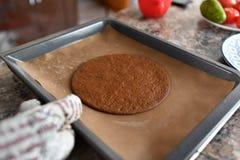 Het maken van Chocoladecake het meisje bakt in de oven in cakeshell stock afbeelding