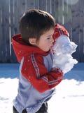 Het maken van de Ballen van de Sneeuw Stock Afbeeldingen