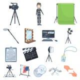 Het maken van de pictogrammen van een filmbeeldverhaal in vastgestelde inzameling voor ontwerp Attributen en illustratie van het  royalty-vrije illustratie