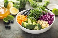Het maken van detox superfood salade stock fotografie