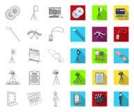 Het maken van een filmoverzicht, vlakke pictogrammen in vastgestelde inzameling voor ontwerp Attributen en de voorraadweb van het stock illustratie