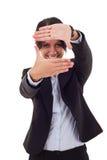 Het maken van een handframe Stock Foto's