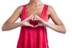 Het maken van een hartsymbool met handen Stock Foto