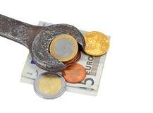 Het maken van geld, die voor baan verdienen Royalty-vrije Stock Foto