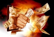 Het maken van geld van Internet Stock Foto