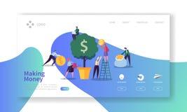 Het maken van Geldlandingspagina Handelsinvesteringenbanner met Vlak Mensenkarakters en de Websitemalplaatje van de Geldboom royalty-vrije illustratie