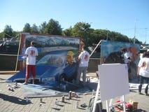 Het maken van graffiti Stock Fotografie