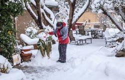 Het maken van sneeuwman Stock Foto's