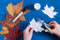 Het maken van spoken van esdoornbladeren aan Halloween Stap 3 Stock Foto's