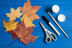 Het maken van spoken van esdoornbladeren aan Halloween Stap 1 Stock Afbeeldingen