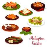 Het Maleise pictogram van het keukendiner met Aziatisch dessert vector illustratie