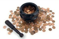 Het malen voor Pence royalty-vrije stock foto's