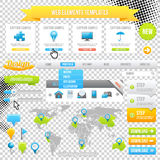 Het Malplaatje, de Pictogrammen, de Schuif, de Banner en de Knopen van de Elementen van het Web. Vector Stock Foto's