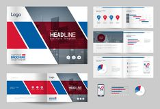 Het malplaatje en de paginalay-out van het bedrijfsbrochureontwerp voor bedrijfprofiel, jaarverslag, Stock Foto