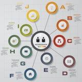 Het malplaatje en van het Bedrijfs infographicontwerp concept met 10 opties, delen, stappen of processen Stock Foto's