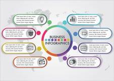 Het malplaatje ontwerpconcept van het het bedrijfs van Infographics met pictogrammen en 8 opties of kleurrijke stappen minimale s Stock Afbeeldingen