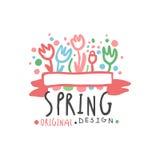 Het malplaatje origineel ontwerp van het de lenteembleem, kleurrijke hand getrokken vectorillustratie royalty-vrije illustratie
