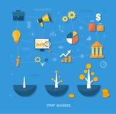 Het malplaatje van bedrijfsbegininfographics Stock Fotografie