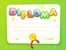 het malplaatje van het het certificaatdiploma van beeldverhaaljonge geitjes vector illustratie