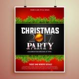Het malplaatje van het de afficheontwerp van de Kerstmispartij met sparrenbladeren Stock Foto's